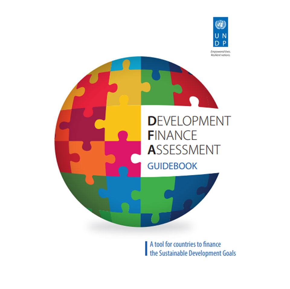 The cover of the Development Finance Assessment - Multi-coloured puzzle pieces making up the globe
